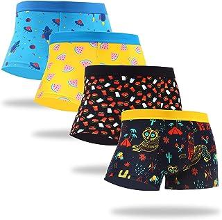 WeciBor Men's Colorful Boxer Shorts Underwear Cotton Funny Pattern Boxer Briefs 4 Packs