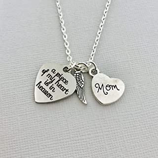 Memorial Gift for Loss of Mother Necklace, A piece of my heart is in heaven
