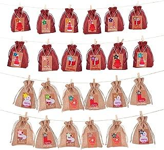 Christmas Advent Calendar Date 1-24 Gift Bag DIY Linen Countdown Calendar Garland Xmas 24 Days Countdowan Haning Burlap Advent Candy Storage Pouches Sacks for New Year Christmas Home Door Wall Decor