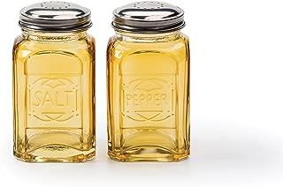 RSVP Retro Salt and Pepper Shakers, Amber