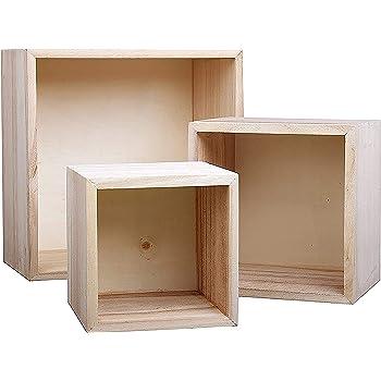 Belle Vous Rustique Boite En Bois 3 Piece 3 Assorties Tailles Boite Cube En Bois Brut
