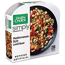 Healthy Choice Simply Steamers Frozen Dinner, Mediterranean-Style Lentil Bowl, 9 Ounce