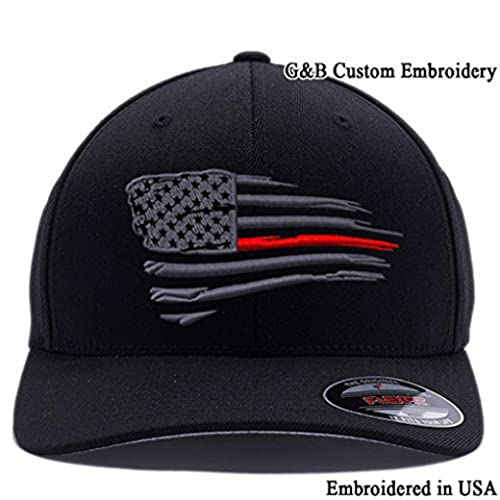 Flexfit Thin Red Line Waving USA Flag. Embroidered. 6477 Wool Blend Cap ef482e57e510