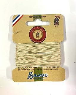 シノワ Fil Au Chinois 手縫い用麻糸(リネン)size632(0.51mm) 10m card 色番571-Ecru