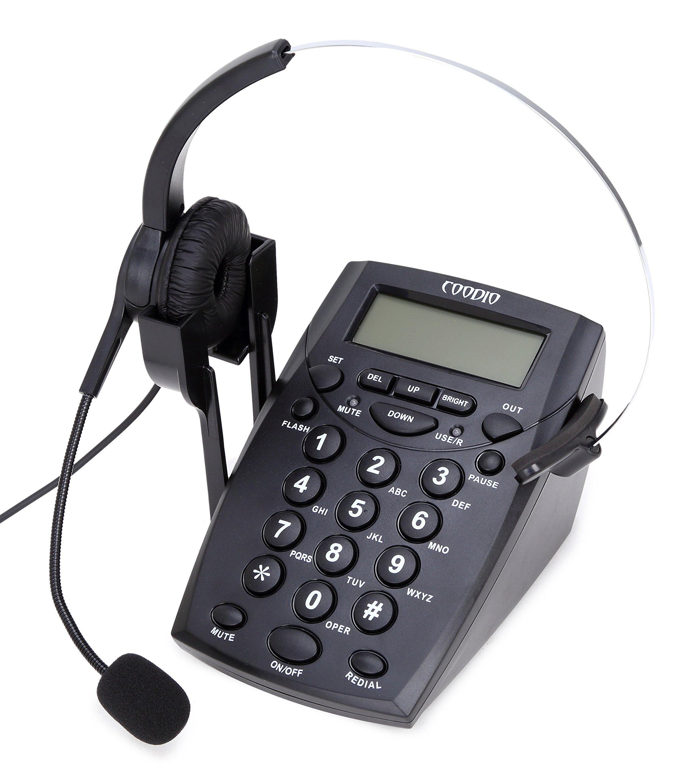 Teléfono Fijo, Coodio Call Center Teléfono con auriculares y cable de la grabación: Amazon.es: Electrónica