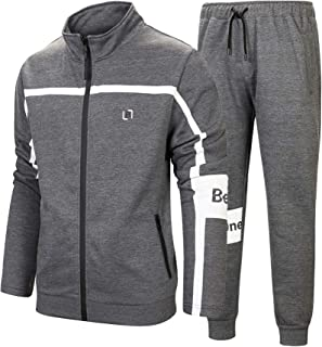 MACHLAB Men's Athletic Tracksuit Full Zip Sports Casual Jogging Gym Sweat Suits