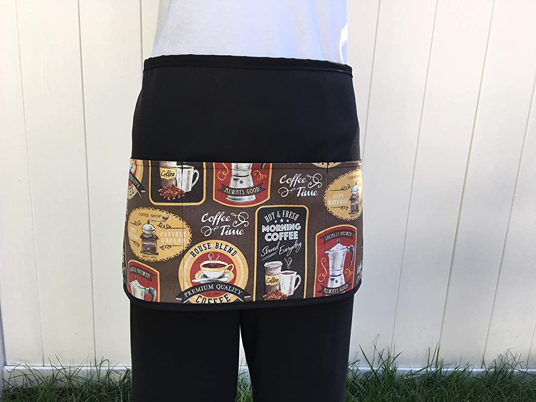 Cute Coffee Drinks Design Apron 3 Pockets Waitress Server Check Out All 300 Prints Handmade Janets Aprons Black Half Kitchen Cooking And Restaurants