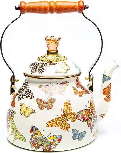 Amazon Com Mackenzie Childs Butterfly Garden Enamel Tea Kettle Floral Tea Kettle 3 Quart Kitchen Dining