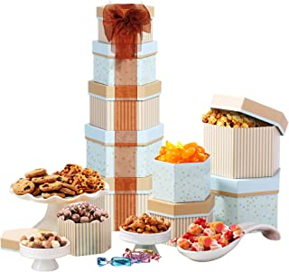 Broadway Basketeers Thanksgiving Gift Tower with Sweets Nuts and Chocolates (Kosher Certified)