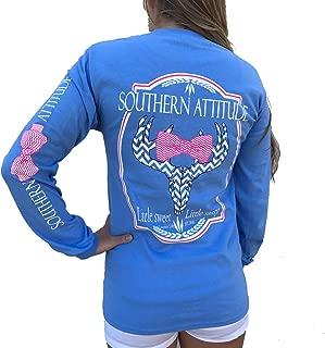 Sassy Chevron Deer Skull Carolina Blue Long Sleeve Shirt