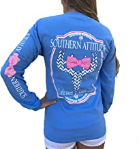 Southern Attitude Sassy Chevron Deer Skull Carolina Blue Long Sleeve Shirt