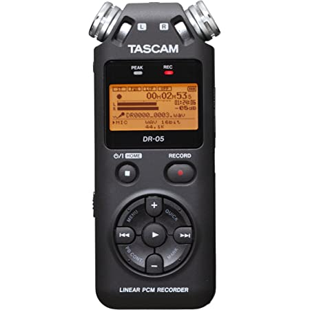 Tascam Portable Studio Recorder, Black, 7.5 x 2.4 x 1.2 inches (DR-05V2)