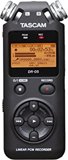Tascam Portable Studio Recorder, Black, 7.5 x 2.4 x 1.2 inches (DR-05V2)