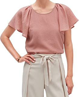 Womens Semi Fitted Pleated Shoulder Raglan Flutter Sleeve Chiffon Blouse Top Pink