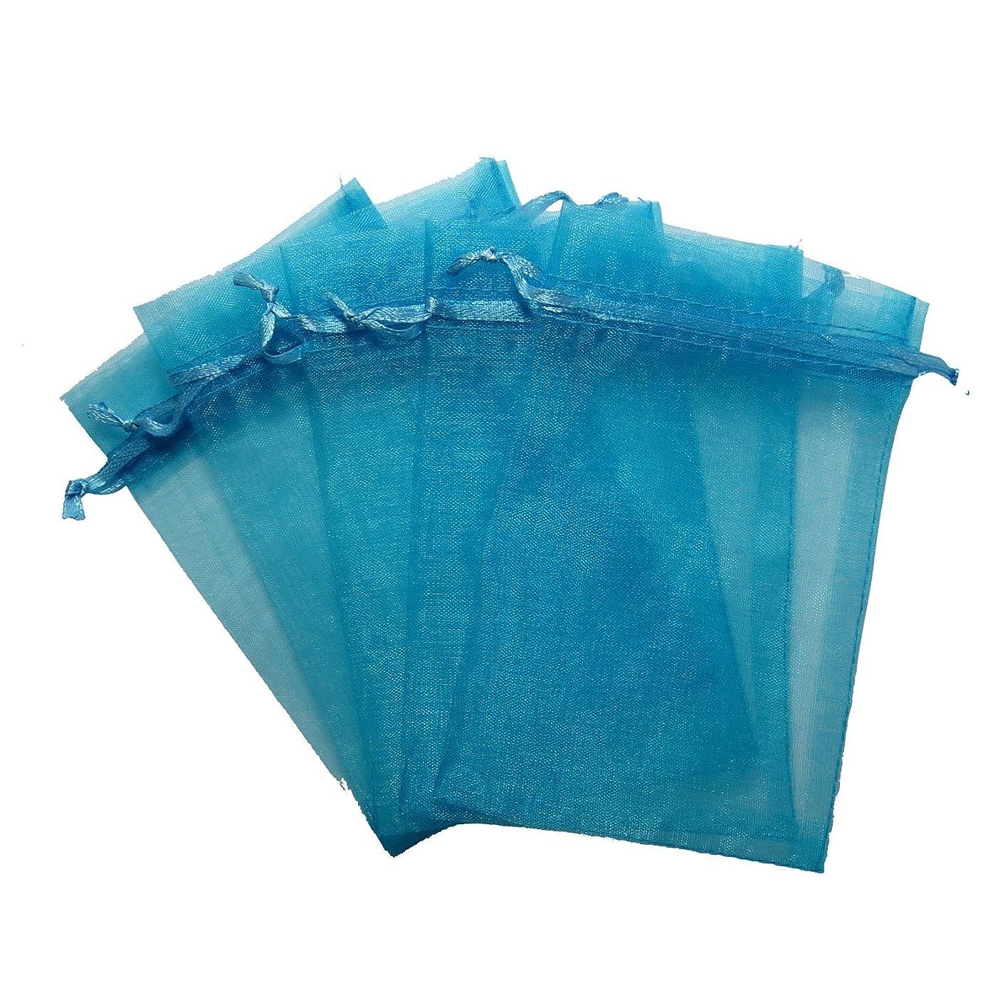 RakrisaSupplies 100Pcs Lake Blue Organza Bags 3x4