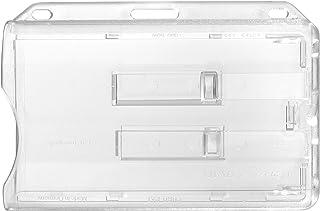 Porte-badge Karteo® pour 2 cartes | Porte-carte horizontal en plastique rigide | Porte-badge transparent muni de deux glis...