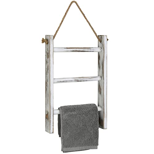 MyGift 3-Tier Mini Whitewashed Wood Wall-Hanging Hand Towel Storage Ladder with Rope