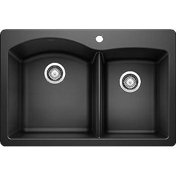 "BLANCO, Anthracite 440215 DIAMOND SILGRANIT 60/40 Double Bowl Drop-In or Undermount Kitchen Sink, 33"" X 22"""