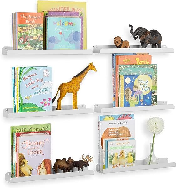 Wallniture Sedona Wall Mounted Floating Shelves For Nursery Decor Kid S Room Bookshelf Display Picture Ledge White Set Of 6