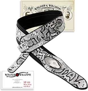 Walker & Williams SF-03 White & Black Snake Pattern Guitar Strap with Snakehead