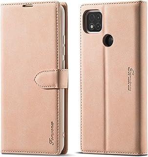 電話ケース Xiaomi Redmi 9C Forwenw F1シリーズのマット強磁性水平フリップレザーケースホルダー&カードスロット&財布&フォトフレーム