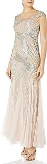 Women's Petite Cap Sleeve Fully Beaded Gown
