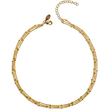 Gold Choker Necklaces for Women | Gold Dipped Chokers Necklaces for Women | Triple Satellite Beaded Chain Choker | Unique Triple Chain Choker Design Perfect for Gifting