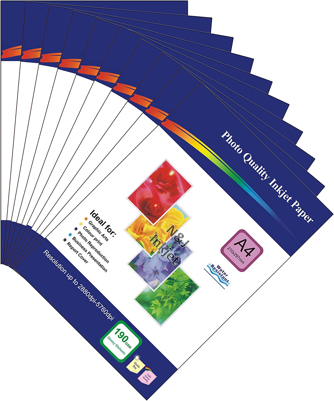 Einseitiges A4-Fotopapier, 500 Blatt, 190 g m², glänzend, für Tintenstrahldrucker – ideal für Ihre Fotos zu Hause B00LX8OCJI | Niedriger Preis und gute Qualität
