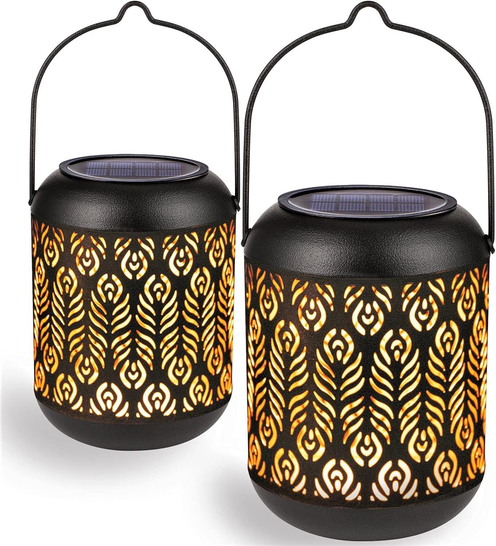 LeiDrail Solar Lantern Fixed price for sale Outdoor Max 77% OFF Garden Dec Lanterns Hanging Metal