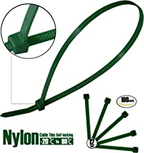 WEEGCN 100 Pcs Nylon Cable Zip Ties - Heavy Duty Self-Locking 12 Inch Zip Ties Fasten Wrap Nylon Cable Straps Wire Ties for Organizing Wires, Home,Garden & Office Use (12-Inch, Green)