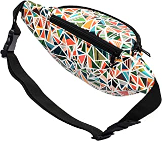 Kayhoma 2 Zippers Vegan Leather Boho Fanny Pack With Geometric Print Festiva Retro Vintage Flat Bum Bags Travel Waist Belt Purse