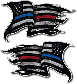 Pack of 2 THIN BLUE AND RED LINE to show support for Police and Firemen Decal Sticker Firefighter American Flag Vinyl Punisher Skull Tattered Distressed Fallen Officer Thin Blue Line Car Truck Graphic