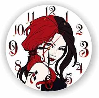 Art time design studio Harley Quinn Wall Clock Quiet Sweep Movement Decorative Battery Operated 11,8 Inch – for Devoted Fans of DC Comics.