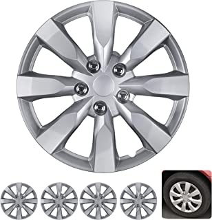 """BDK Wheel Guards – (4 Pack) Hubcaps for Car Accessories Wheel Covers Snap Clip-On Auto Tire Rim Replacement for 16 inch Wheels 16"""" Hub Caps (Medium Spokes)"""