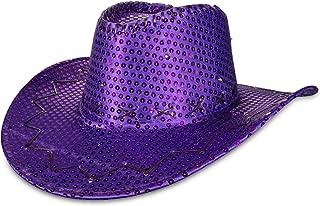 LED Light Up Purple Sequin Cowboy Party Hat