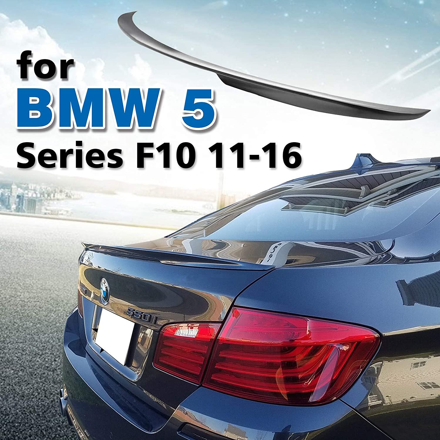 JR2 Unpainted for 2011 2012 2013 2014 2015 2016 2017 BMW 5-Series 6th Generation Rear Window Roof Spoiler