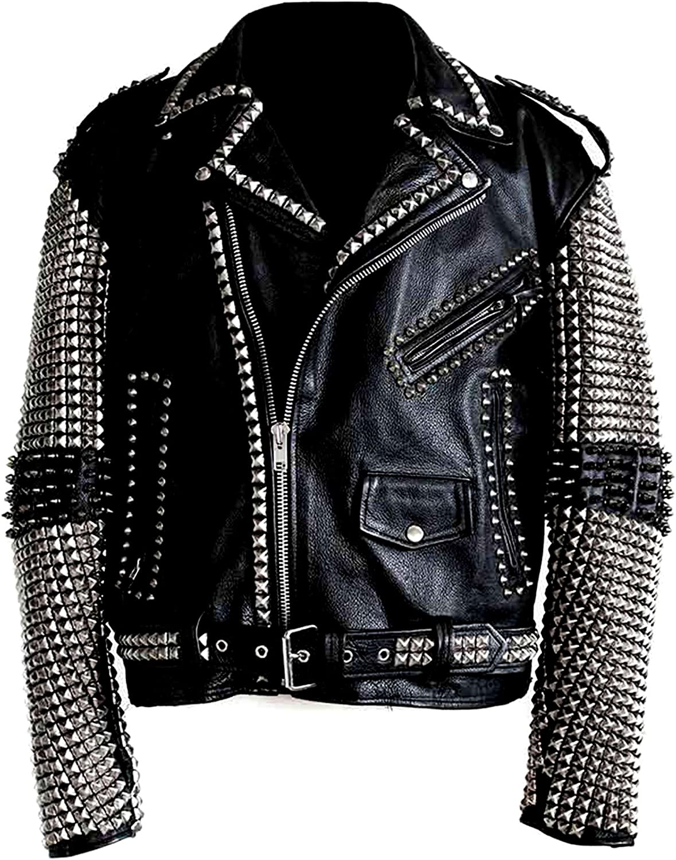 UGFashions Men's Brando Funky Studded Sleeves Motorcycle Black Belted Biker Cowhide Leather Jacket
