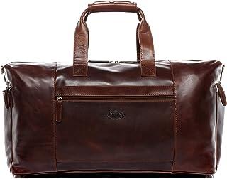 SID & VAIN Reisetasche echt Leder Bristol Side XL groß Sporttasche Weekender Ledertasche Unisex 50 cm braun