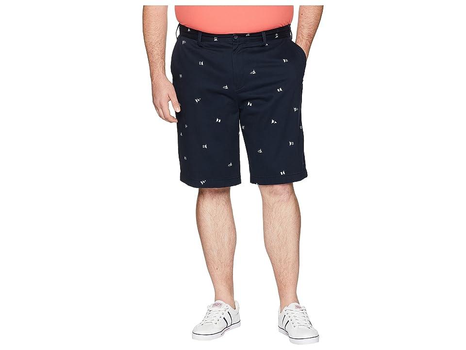 Nautica Big & Tall Big Tall Printed Flag Shorts (True Navy) Men