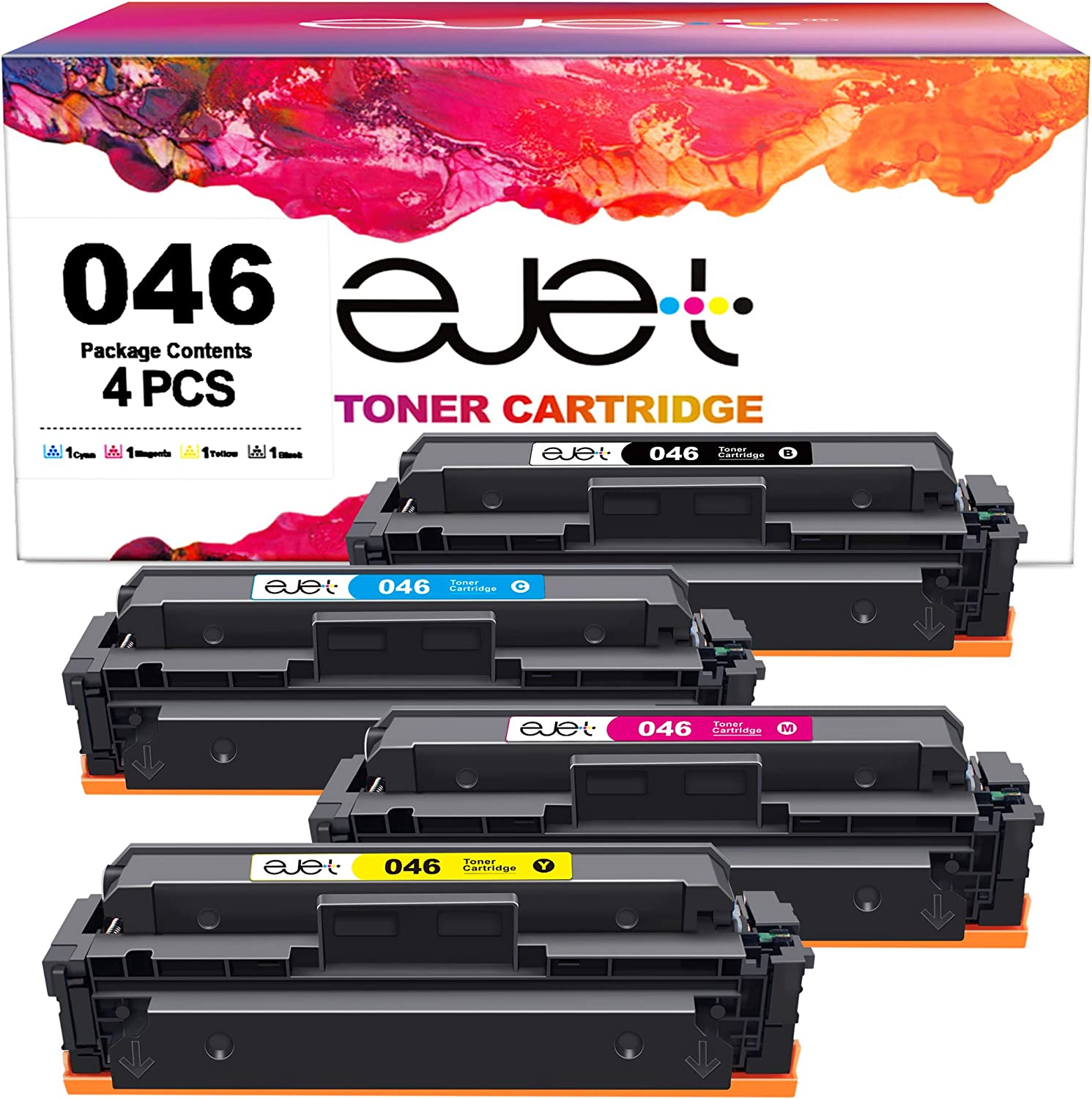ejet mf733cdw Toner Compatible 046h Toner Cartridge Replacement for Canon 046 CRG-046 Toner for Canon ImageCLASS MF733Cdw MF731Cdw MF735Cdw LBP654Cdw Printer Tray,4 Pack(Black, Cyan, Magenta, Yellow)