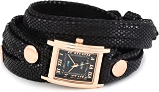 La Mer Collections Women's LMLW7010 Layered Wraps Black Sequin Layer Black Face Watch