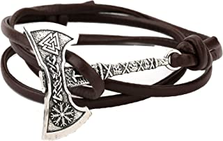 TEAMER Viking Axe Helm of Awe Wrap Bracelet Valknut Amulet Norse Viking Bracelet