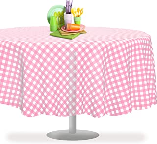 Pink Checkered Gingham 6 Pack Premium Disposable Plastic Tablecloth 84