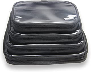 Damero 4pcs Clear Toiletry Bag Packing Cubes, Clear Toiletry Makeup Bag Organizers for Traveling, Business Trip and School, Black