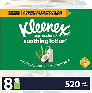 Kleenex Soothing Lotion Facial Tissues with Coconut Oil, Aloe & Vitamin E, 8 Cube Boxes, 65 Tissues Per Box (520 Total Tis...