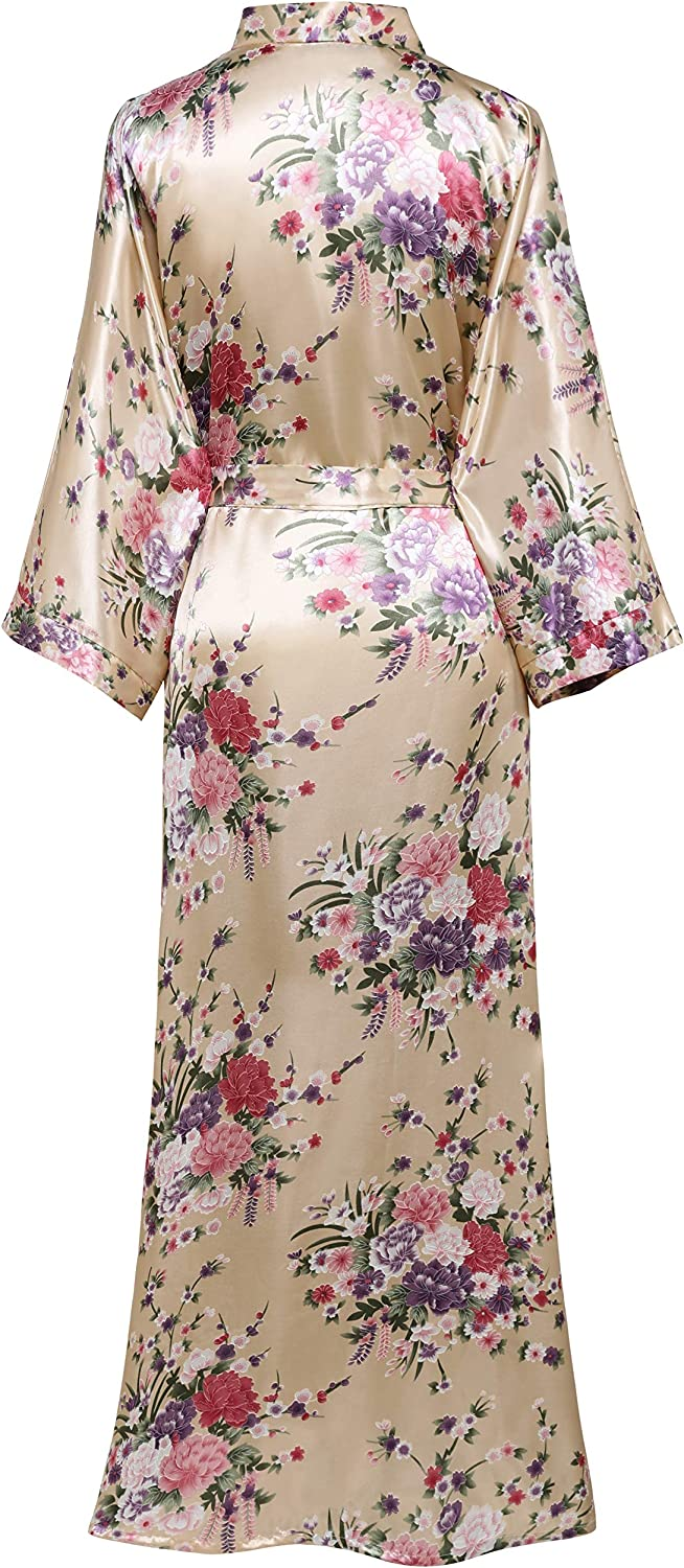 BABEYOND Damen Morgenmantel Maxi Lang Kimono Strandkleid Blütenkirsche Gedruckt Strickjacke Kimono Bademantel Damen Lange Robe Blumen Schlafmantel Girl Pajama Party Champagner