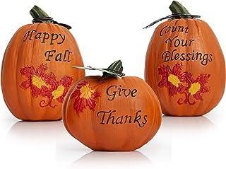 Besti Fall Harvest Pumpkin Decorations (3-Piece Set) Inspirational Thanksgiving and..