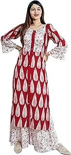 Dheylu Women's Cotton Kurti With Palazzo Pant Set (Multi Colour printed Kurta with Sharara)