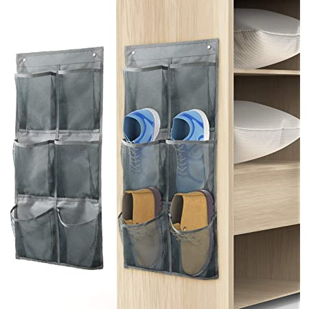 Yocice Wall Mounted Shoes Rack 2Pack/Can Store 6Pairs of Sneakers,with Sticky Hanging Mounts, Shoes Holder Storage Organizer Shelf,Door Shoe Hangers (SM06-Gray-2)