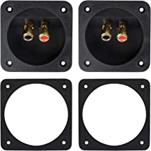 """Bluecell 1 Pair 3.1"""" Double Binding Round Gold Plate Push Spring Loaded Jacks Speaker Box Terminal Cup"""